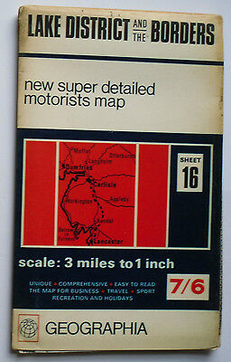 1968 Geographia super detailed motorists map 3 m 1 in Lake District & Borders 16