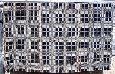 Antique Blue & White Homespun Coverlet Mid 1800's RARE 3 Loom Size EX Large!
