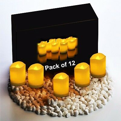 Flameless Candles Flickering LED Romantic Ivory Battery Operated 12 PACK