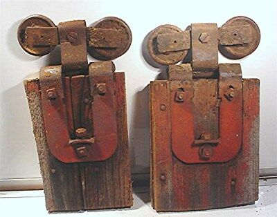 Vintage Pair Of Steampunk Antique Barn Door Rollers