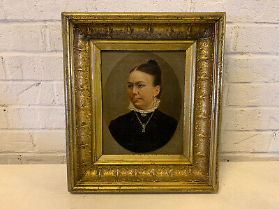 Antique Oil on Canvas Portrait Painting of Woman in Black Wearing Gold Necklace