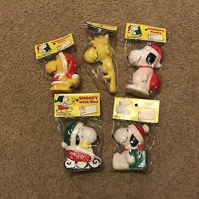 Vintage Christmas Snoopy and Woodstock Vinyl Squeak Toy Lot Of 5 Collectible