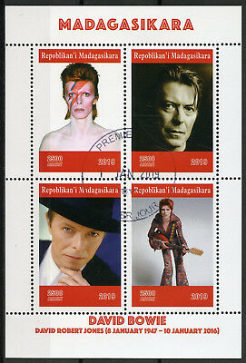 Madagascar 2019 CTO David Bowie 4v M/S Celebrities Famous People Music Stamps