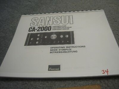 Sansui CA-2000 Operation Manual (Coil Bound w/ Protective Cover)