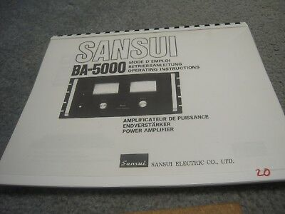 Sansui BA-5000 Operation Manual (Coil Bound w/ Protective Cover)