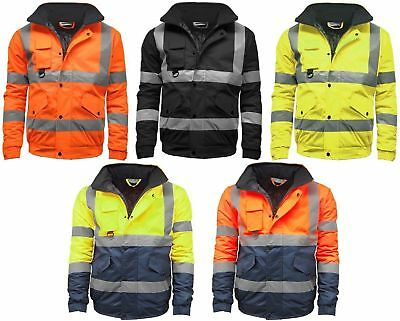 Mens Hi Vis Bomber Jacket Two Tone Waterproof High Visibility Work Wear Hi Viz