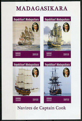 Madagascar 2019 MNH Captain James Cook Voyages 4v IMPF M/S Boats Ships Stamps