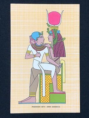 Vintage Egyptian Hieroglyphs Postcard - PHARAOH SETI 1 AND GODDESS, Egypt
