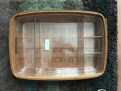 Longaberger 1993 Large Hostess Serving Tray Basket~2 Protectors-1 is Divided