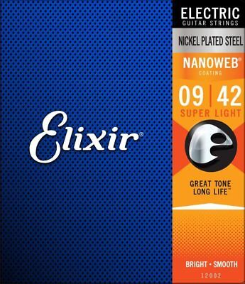 Elixir 12002 Nanoweb Electric Guitar Strings super light gauge 9-42