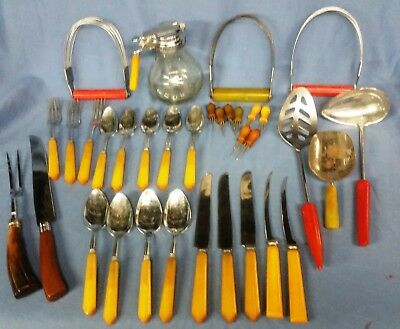 34 pcs. CATALIN - BAKELITE kitchenware utensils - mid century modern