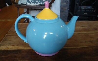 Lindt-Stymeist Colorways teapot and lid turquoise yellow pink 7.5 high VERY NICE