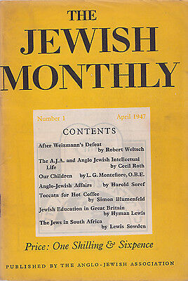 The Jewish Monthly Number 1 April 1947 pub. The Anglo-Jewish Association