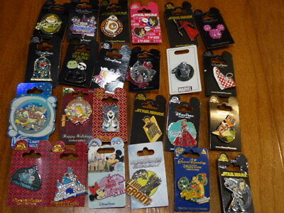 AUTHENTIC Disney Trading Pins Lot 25 No Duplicates New On Cards C