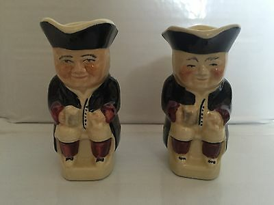 """Pair Of Matching Vintage Tony Woods Hand Painted Miniature  Toby Jugs - 3.5"""" PUB"""