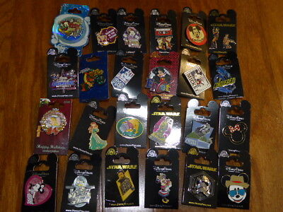 AUTHENTIC Disney Trading Pins Lot 25 No Duplicates New On Cards L