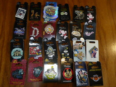AUTHENTIC Disney Trading Pins Lot 25 No Duplicates New On Cards M