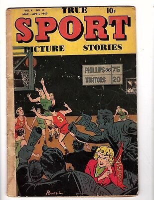 True Sport Picture Stories  V4 #12  Street & Smith  1949 Vg  Rare Bob Powell Art