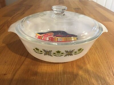 Anchor Hocking Fire King Ovenware Casserole Dish W/ Lid, Green Meadow, Circle