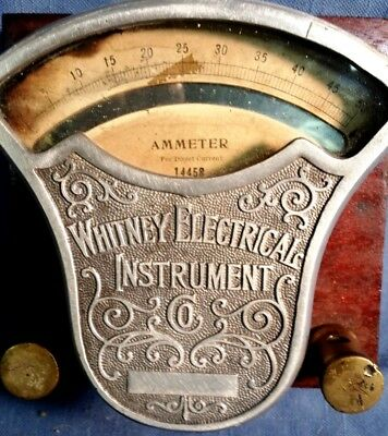 antique early 1900s WHITNEY ELECTRICAL INSTRUMENT CO AMMETER -- works