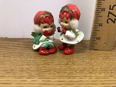 Rare set of 2 Vintage Lefton Angels with Earmuffs Ear muffs