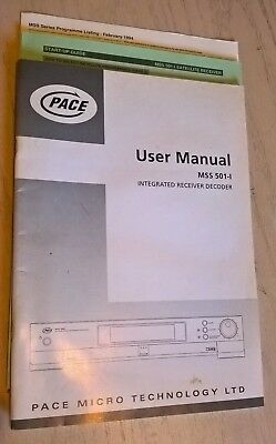 PACE MSS 501-I  MSS501 Satellite Receiver Decoder Box Instruction Book Manual