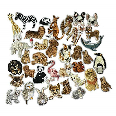 36pcs/Set Animals Patches Embroidered Iron On Patches Clothing DIY Stripes