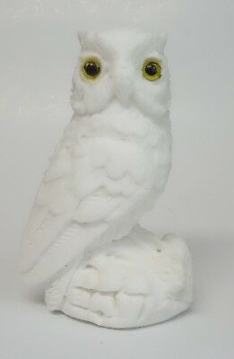 """Vintage Italian Alabaster Carved Owl Figurine Italy Yellow Eyes 5"""" Statue"""