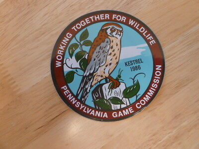 """Pa Pennsylvania Game Commission NEW 4"""" 1986 WTFW Kestrel  DECAL"""
