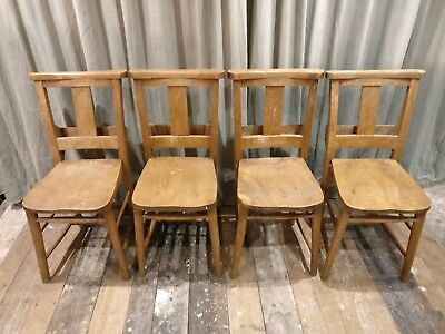 Set of 4 Vintage Reclaimed Wooden Chapel Church Kitchen Dining Room Chairs