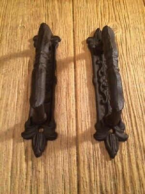 "Large Door Handle Pulls Ornate Cast Iron 9"" long (Set of Two) 0184-0015"