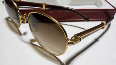 7e10ebfff52f Vintage Cartier Giverny Gold   Wood 52Mm Brown Lens France Sunglasses