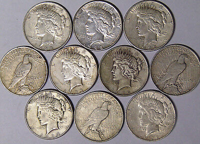 Lot of 10 Peace Silver Dollars: 1922 1922-D 1922-S 1923 1923-S Circulated