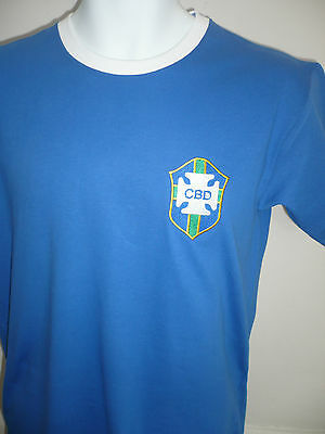 RETRO Brazil 1970 Away Embroidered Football T-Shirt