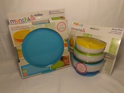 Munchkin Stay Put Suction Bowl 3 Count & Multi Plates 5 Count Set