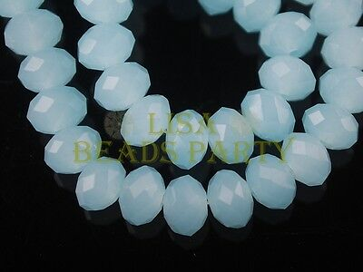 200pcs 4mm Faceted Rondelle Crystal Glass Loose Spacer Bead Jade Lt Lake Blue