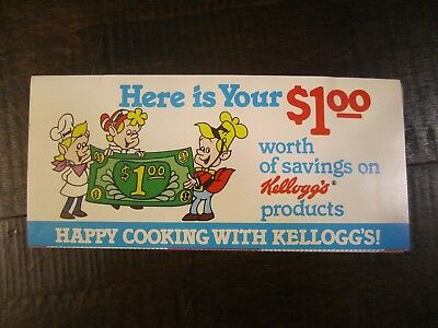 vintage 1981 Kellogg's coupons accordion style Rice Krispies and more