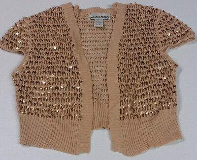 Sweater Project Gold Glitter Cable Knit Cardigan Shrug Wrap, Girls Size Large