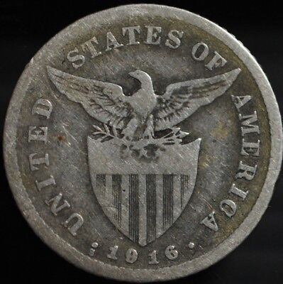 1916 Philippines 20 Centavos .750 Silver  US Administration.