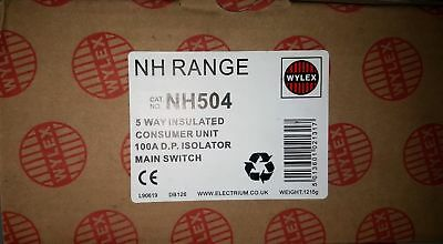 Wylex 5 Way Insulated Consumer Unit 100A Main Switch NH504