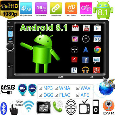 Android8.1 Double 2 DIN Car Stereo MP5 Player 7'' GPS Nav WiFi FM Radio BT Touch