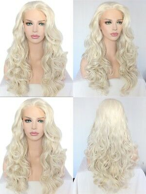 "AU 24"" Lace Front Wig Synthetic Hair Fashion Long Curly Wavy Pastel Blonde"