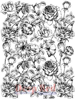 Deep Red Stamps Roses Background Rubber Cling Stamp