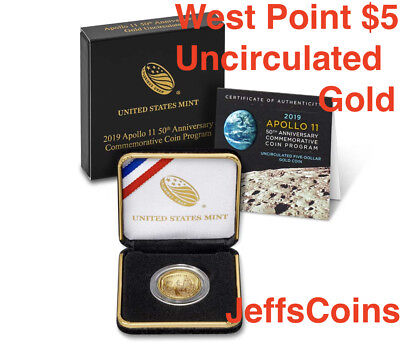 2019 W Apollo 11 50th Anniversary UNCIRCULATED $5 GOLD Coin 19CB West Point Mint