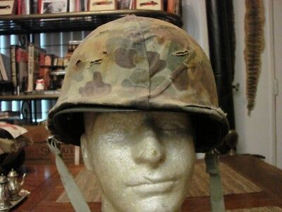 LATE WWII KOREAN WAR M1 HELMET WITH USMC 1st PATTERN HELMET