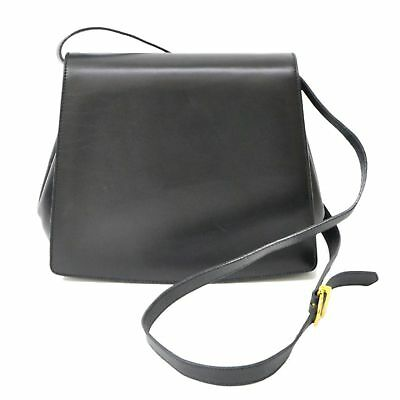 967b3780f7f0 Authentic Salvatore Ferragamo Gancini Leather Shoulder Crossbody Bag Black  Gold