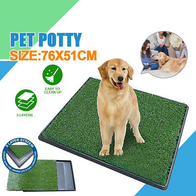 "30x20""Puppy Pet Potty Training Pee Indoor Toilet Dog Grass Pad Mat Turf Patch US"