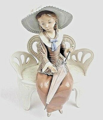 LLADRO WAITING IN THE PARK #1374. Young Lady with Hat. RETIRED. MINT Condition.