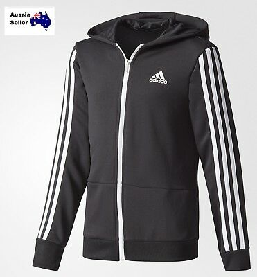 New Adidas Youth Junior Training Gear Up Full Zip Hoodie Jacket Top Black Ce5877