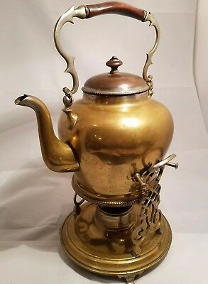 Antique Brass Teapot Kettle With Tipping Warming Stand & Burner